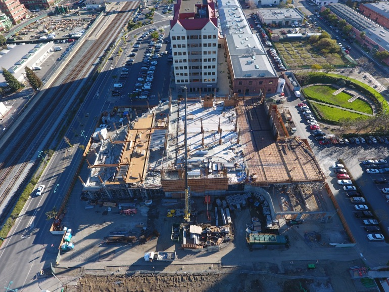 Parking lot construction in Emeryville, CA. Aerial photography in San Francisco Greater Bay Area.