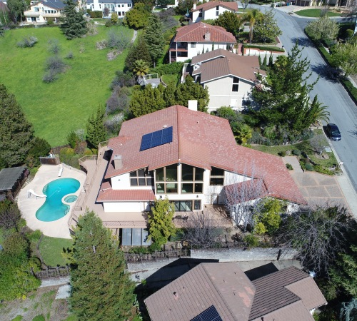Private home in Niles Canyon, CA. Real estate aerial photography.