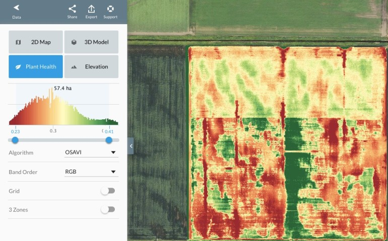 Screen shot showing sectional crops colorized to show plant health.